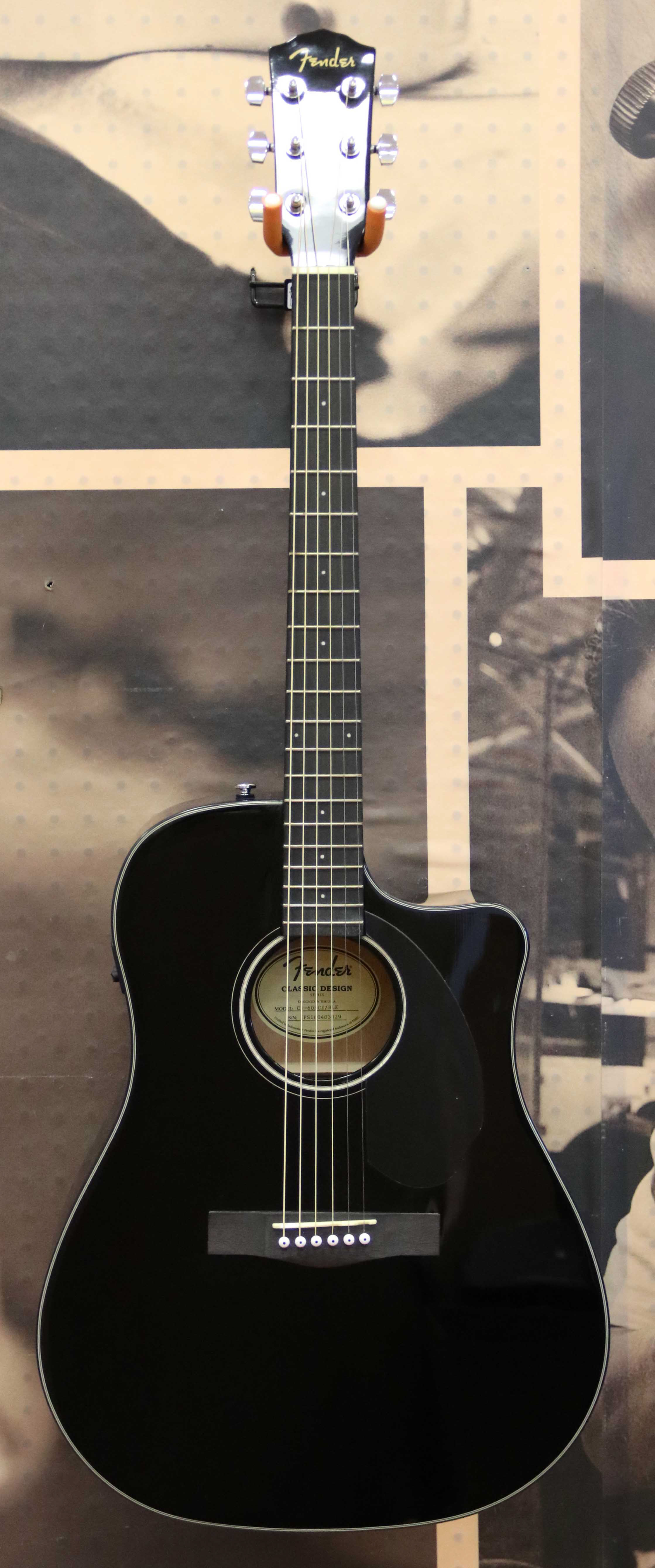 fender cd 60sce dreadnought acoustic electric guitar black dented in on botto ebay. Black Bedroom Furniture Sets. Home Design Ideas