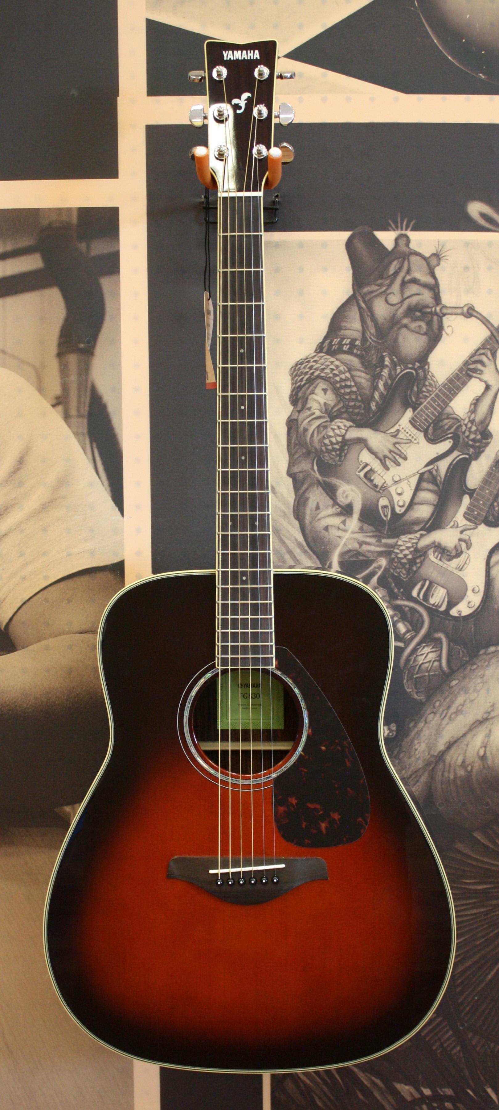 eaefec44ad Yamaha FG830 Solid Top Folk Acoustic Guitar - Tobacco Sunburst. Состояние: