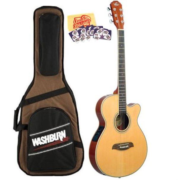 oscar schmidt by washburn og8cen folk size cutaway acoustic electric guitar set. Black Bedroom Furniture Sets. Home Design Ideas