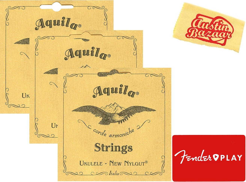 Aquila Tenor Ukulele Cordes - 3 Pack Avec Fender Jouer En Ligne Leçons-afficher Le Titre D'origine Fixation Des Prix En Fonction De La Qualité Des Produits