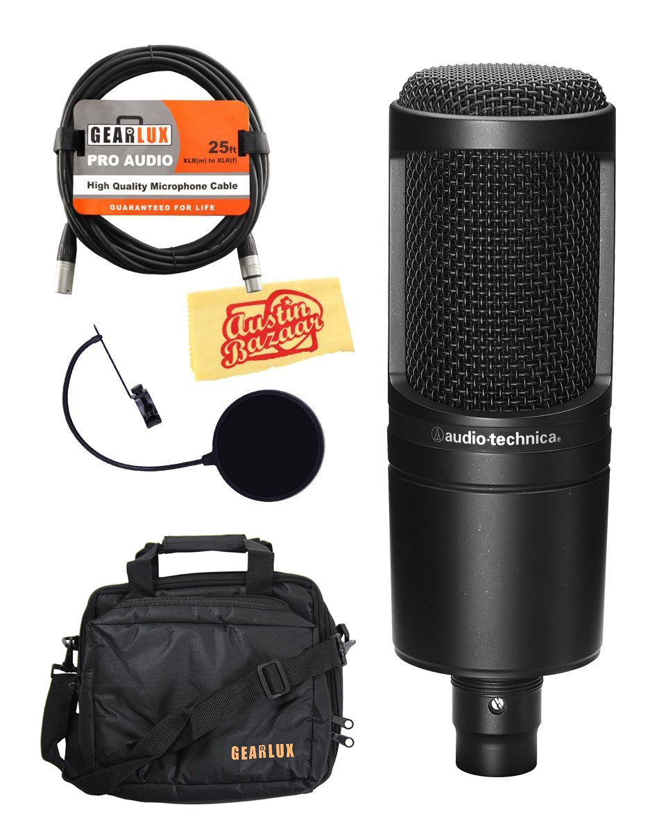 audio technica at2020 cardioid condenser microphone w. Black Bedroom Furniture Sets. Home Design Ideas