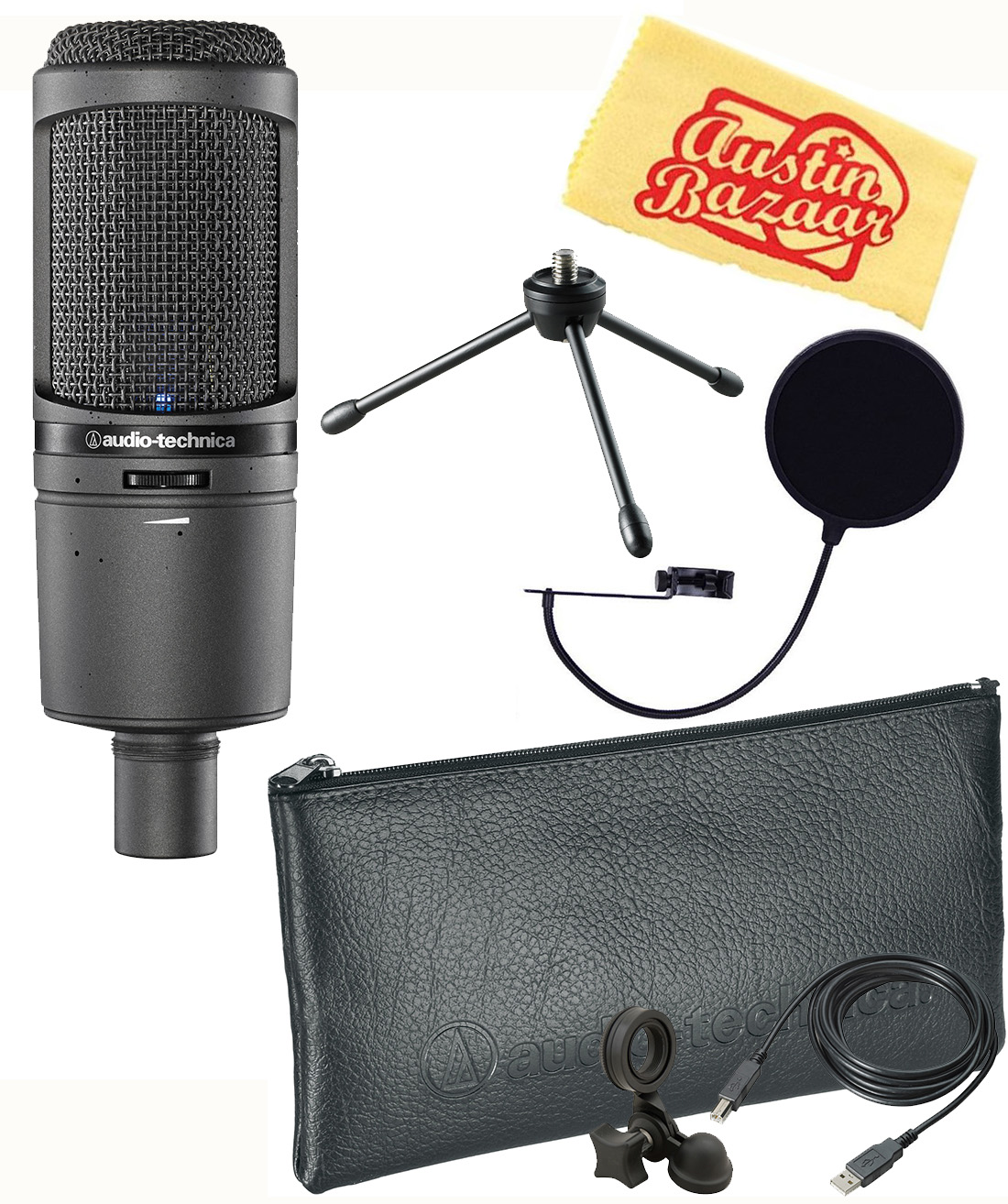 audio technica at2020usb cardioid condenser usb microphone w pop filter ebay. Black Bedroom Furniture Sets. Home Design Ideas