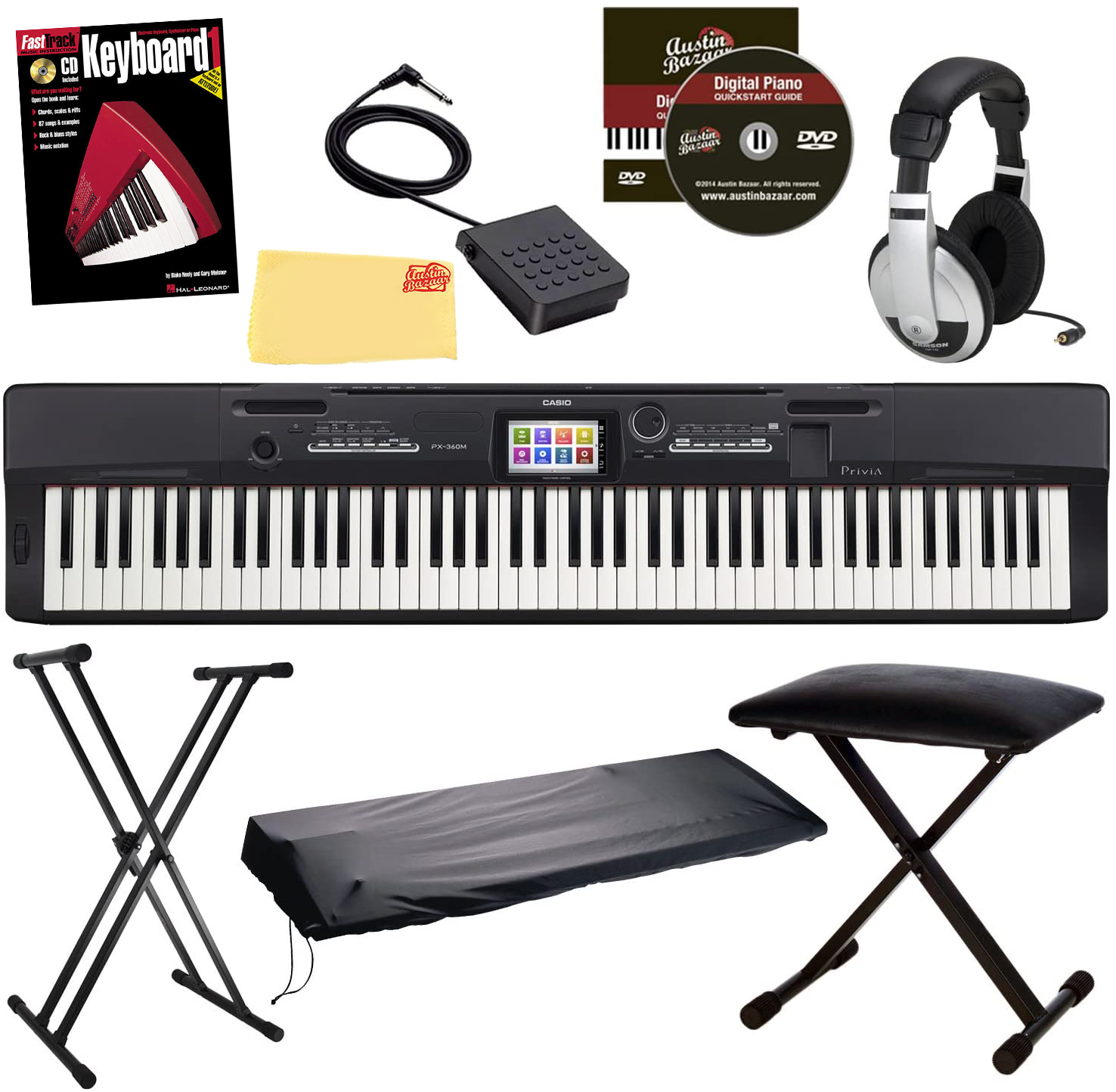 casio privia px 360 digital piano black w x style stand bench ebay. Black Bedroom Furniture Sets. Home Design Ideas