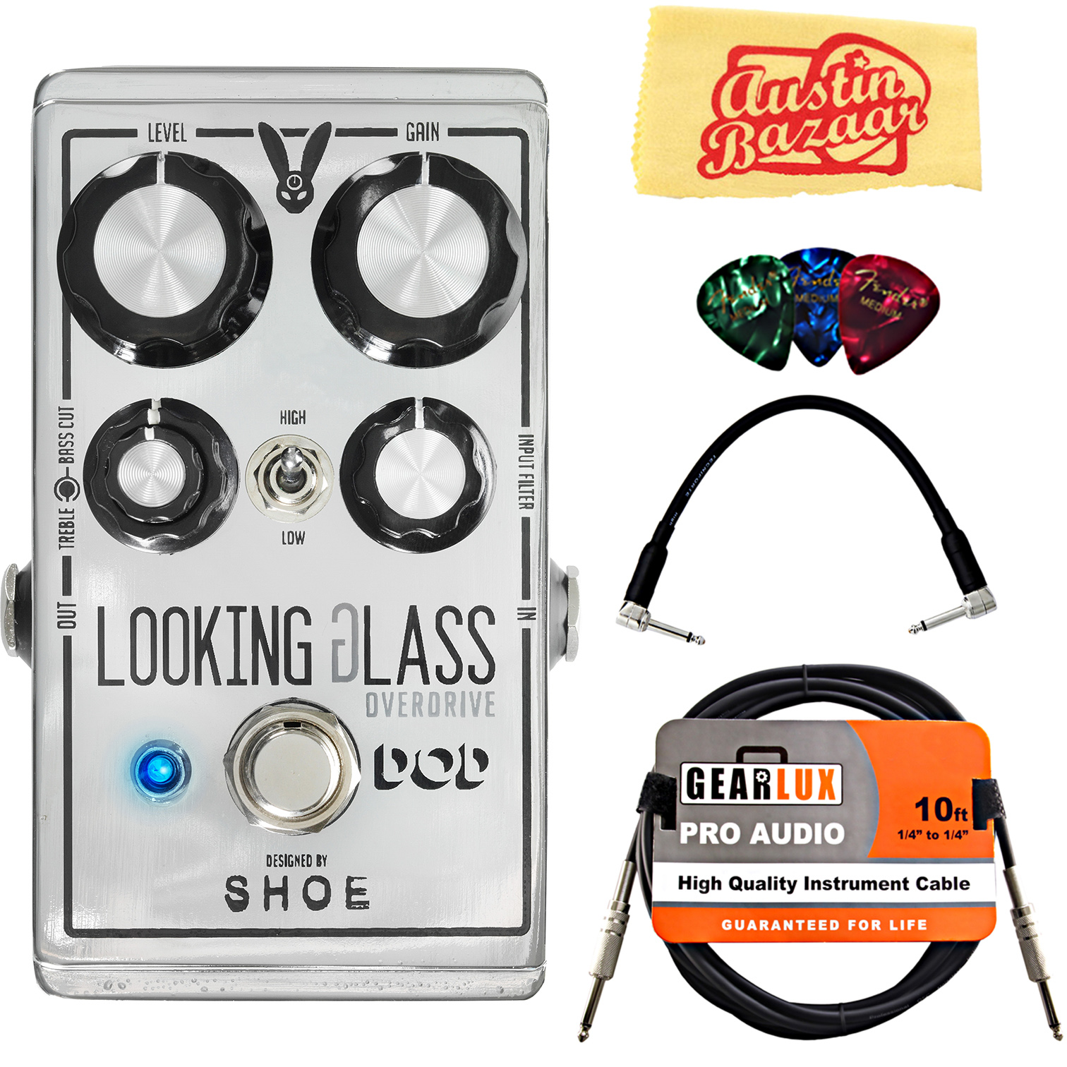 DigiTech DOD Looking Glass Overdrive Pedal w  Cables