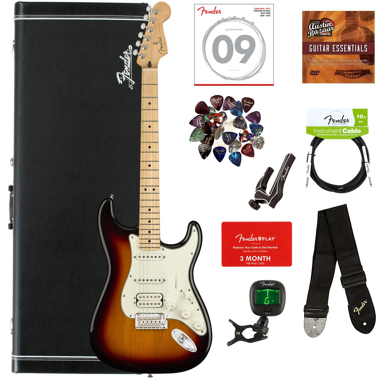 fender player stratocaster hss maple 3 color sunburst w hard case ebay. Black Bedroom Furniture Sets. Home Design Ideas