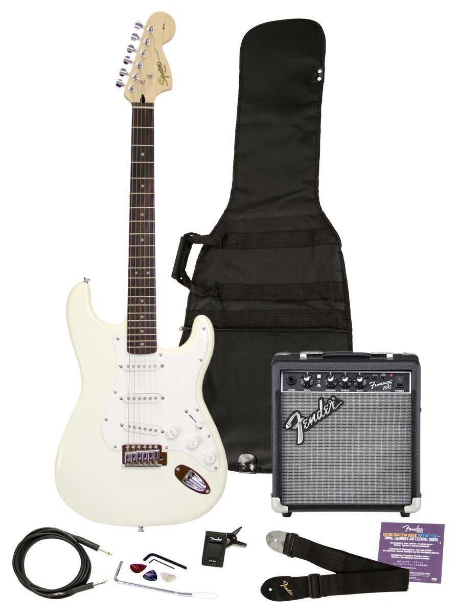 squier by fender affinity strat pack arctic white w frontman 10g amplifier. Black Bedroom Furniture Sets. Home Design Ideas