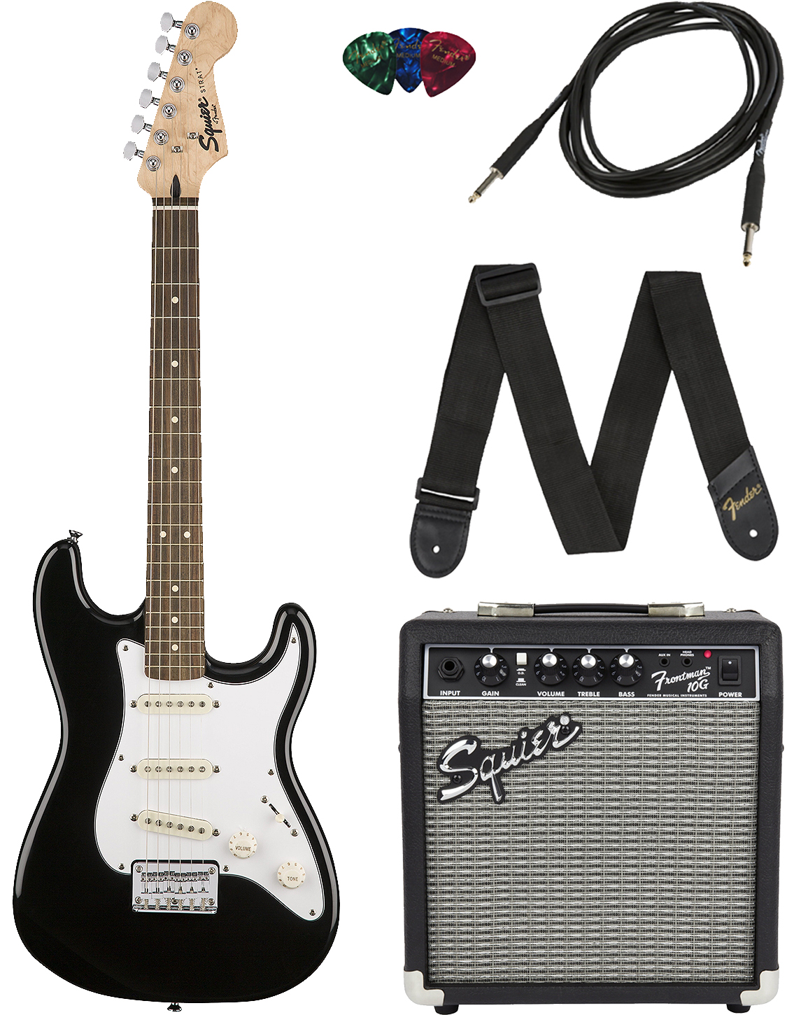 squier by fender stratocaster pack black ebay