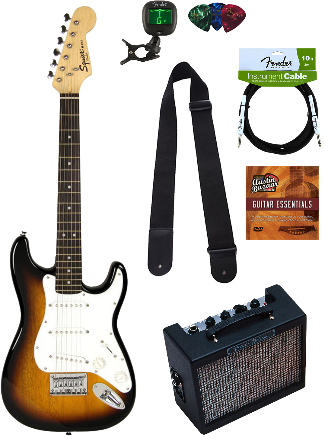 squier by fender mini strat electric guitar sunburst w amp ebay. Black Bedroom Furniture Sets. Home Design Ideas