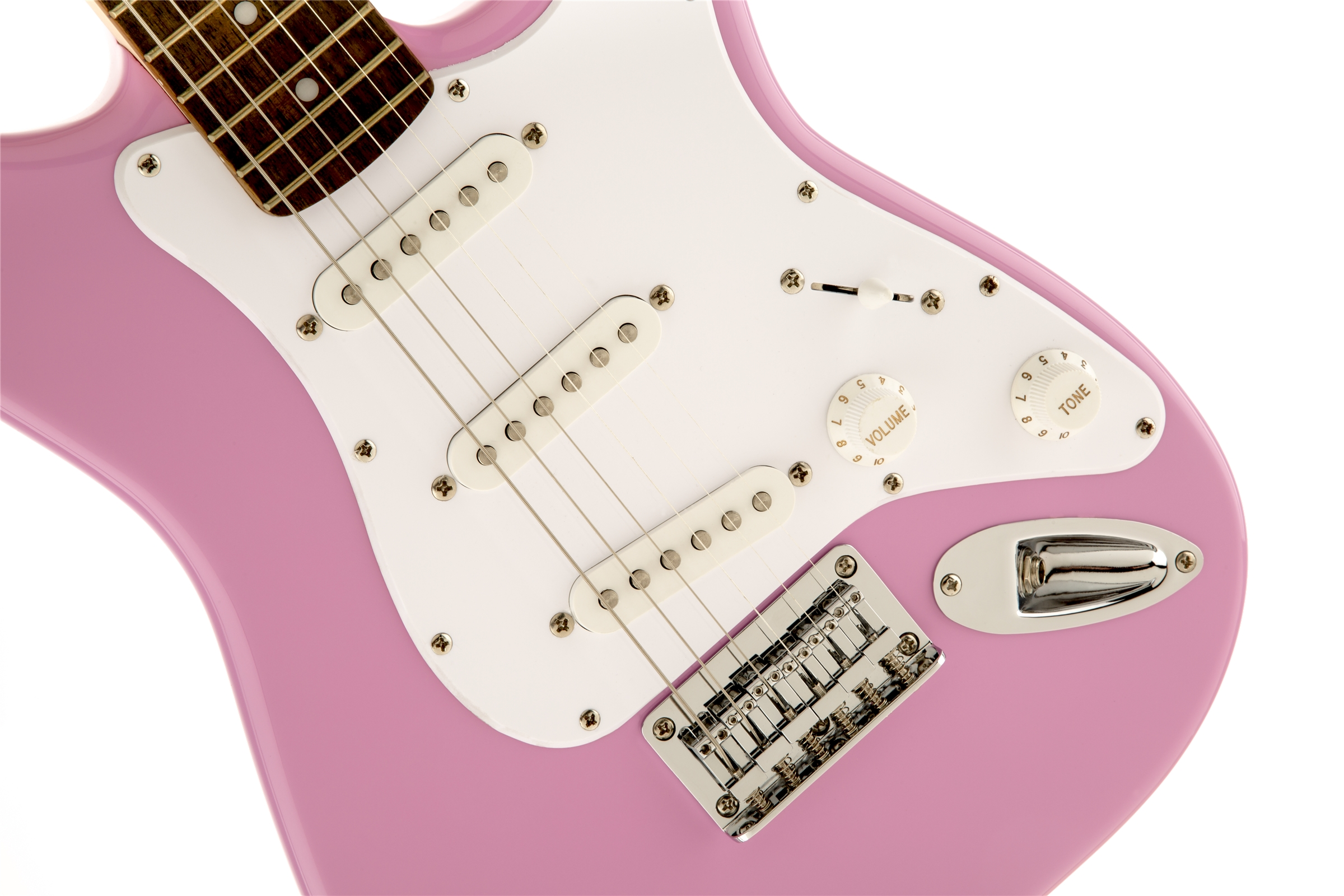 squier by fender mini strat electric guitar pink w tuner ebay. Black Bedroom Furniture Sets. Home Design Ideas