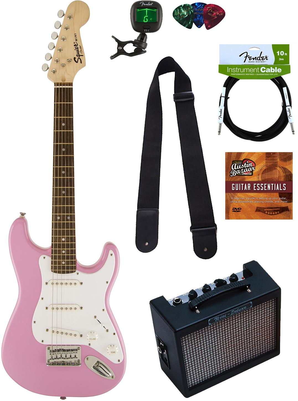 squier by fender mini strat electric guitar pink w amp ebay. Black Bedroom Furniture Sets. Home Design Ideas