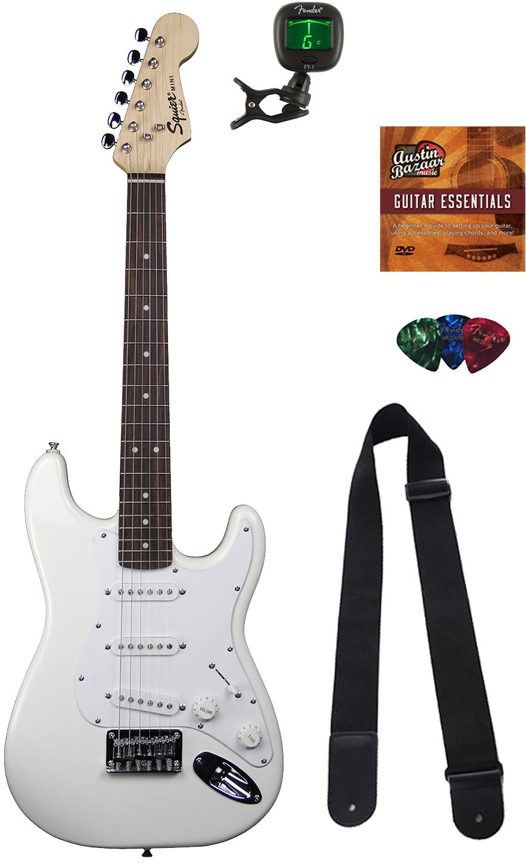 squier by fender mini strat electric guitar arctic white w tuner ebay. Black Bedroom Furniture Sets. Home Design Ideas