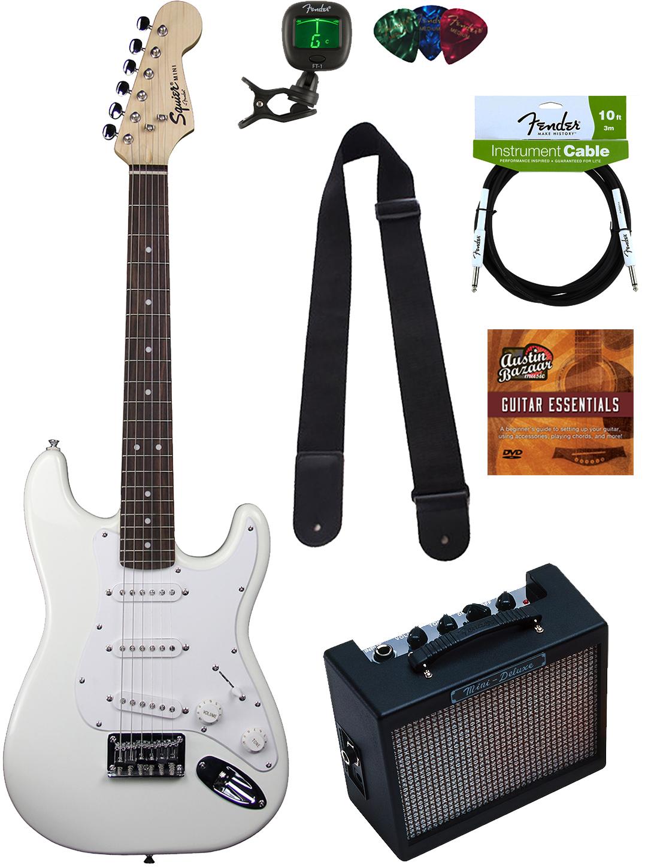 squier by fender mini strat electric guitar arctic white w amp ebay. Black Bedroom Furniture Sets. Home Design Ideas