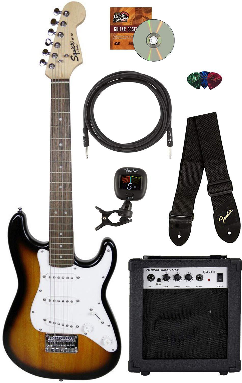 fender squier mini strat electric guitar brown sunburst w amp 660845726802 ebay. Black Bedroom Furniture Sets. Home Design Ideas
