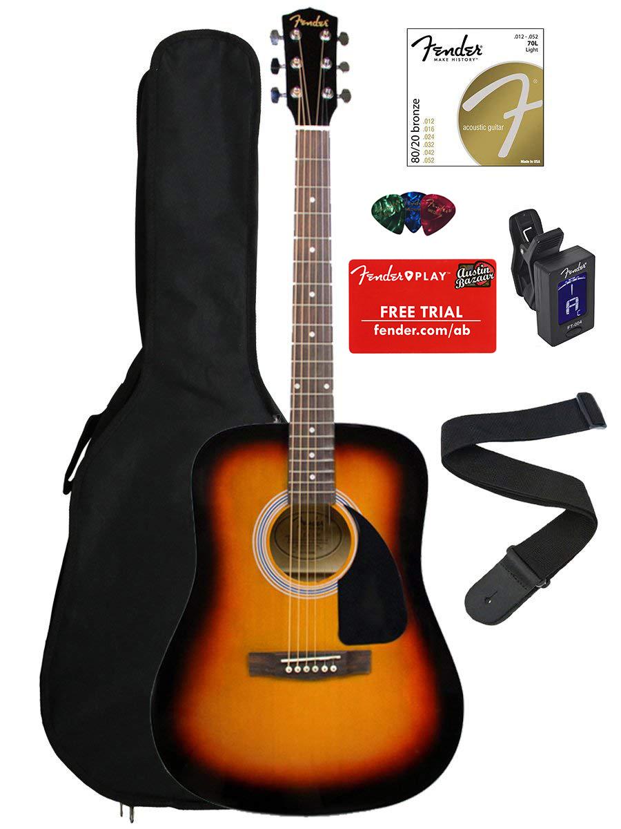 fender fa 100 acoustic guitar sunburst w tuner ebay. Black Bedroom Furniture Sets. Home Design Ideas