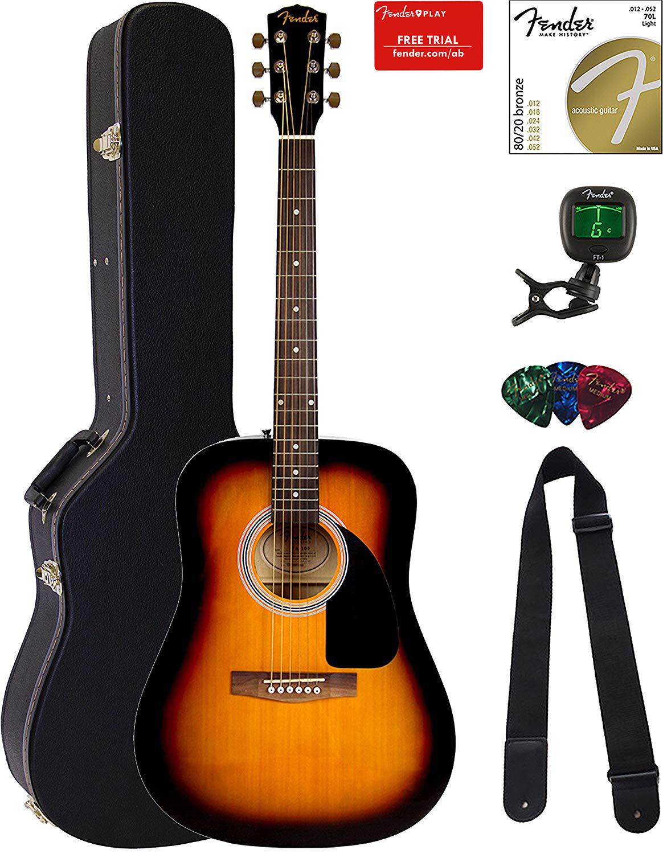 Fender FA-100 Dreadnought Acoustic Guitar Bundle with Hardsh