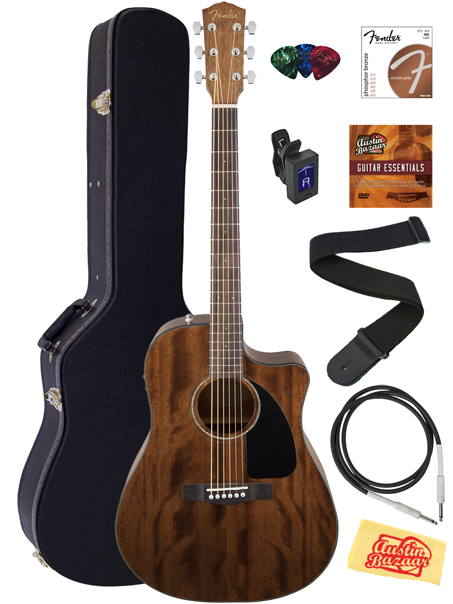 fender 0961590221 cd 60ce all mahogany acoustic electric guitar w case cable. Black Bedroom Furniture Sets. Home Design Ideas