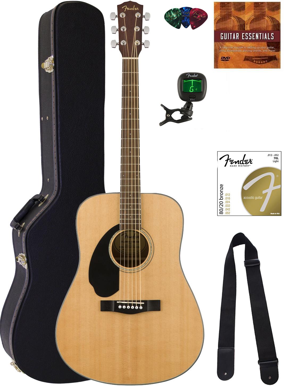 fender cd 60s dreadnought acoustic guitar left handed natural w hard case ebay. Black Bedroom Furniture Sets. Home Design Ideas