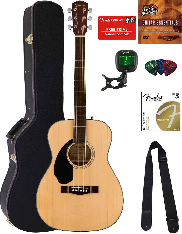 fender cc 60s concert acoustic guitar left handed natural w hard case ebay. Black Bedroom Furniture Sets. Home Design Ideas