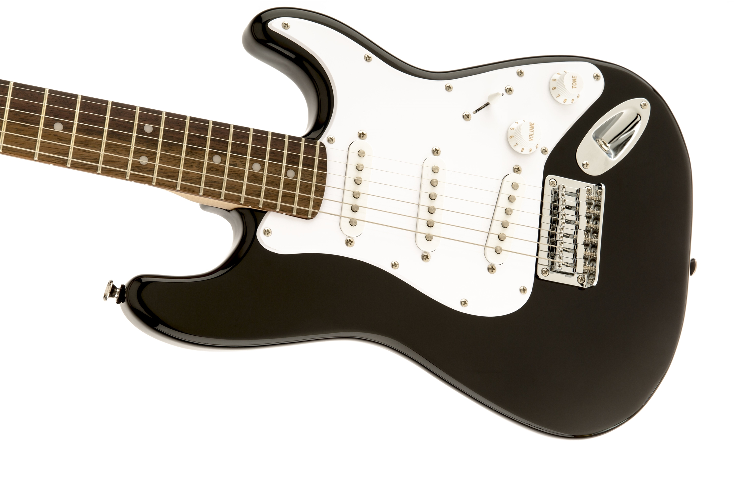 squier by fender mini strat electric guitar black w tuner 717669176846 ebay. Black Bedroom Furniture Sets. Home Design Ideas
