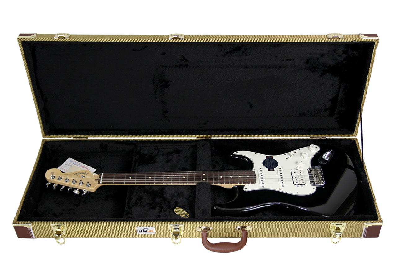 gearlux electric guitar hard case tweed. Black Bedroom Furniture Sets. Home Design Ideas