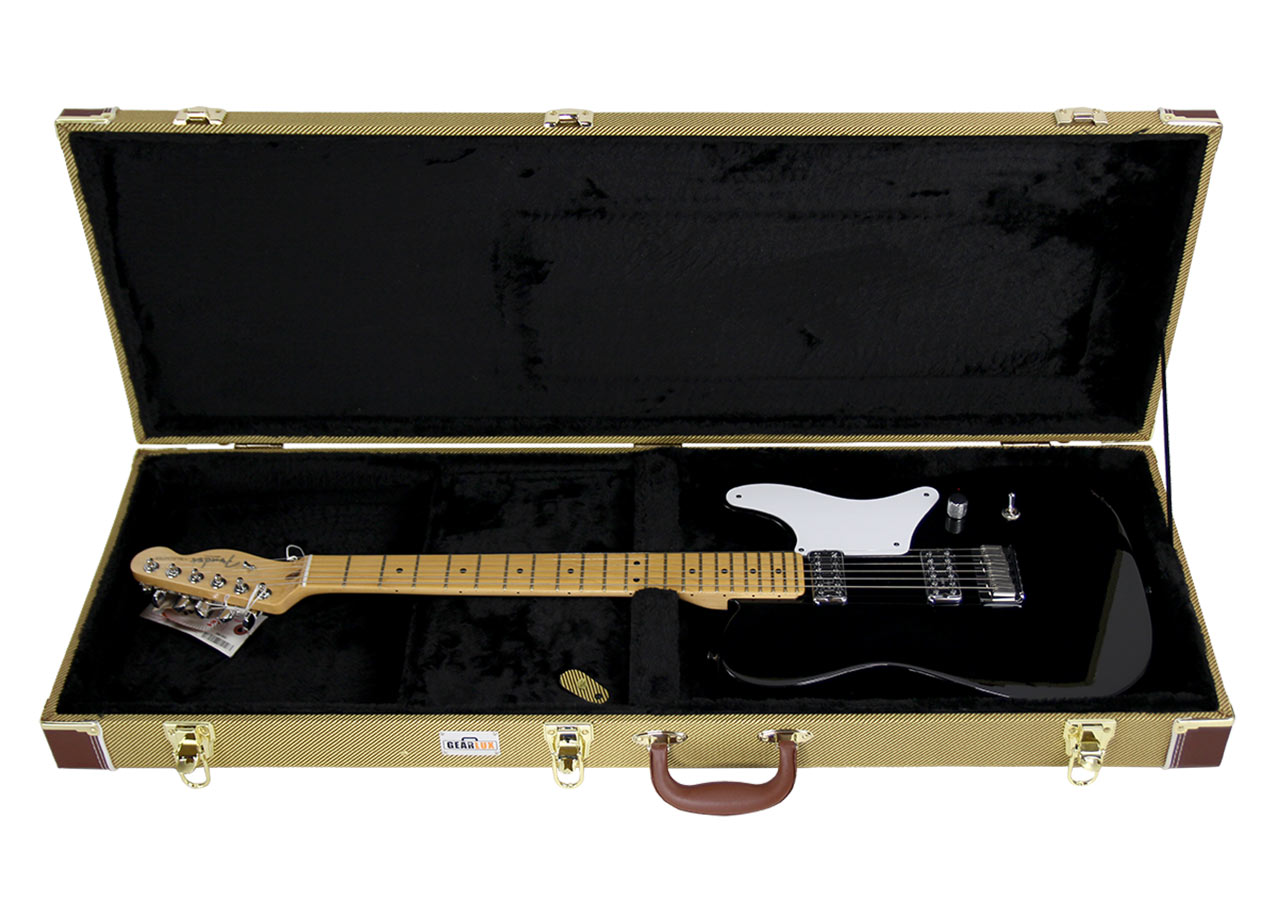 gearlux electric guitar hard case tweed picclick ca. Black Bedroom Furniture Sets. Home Design Ideas