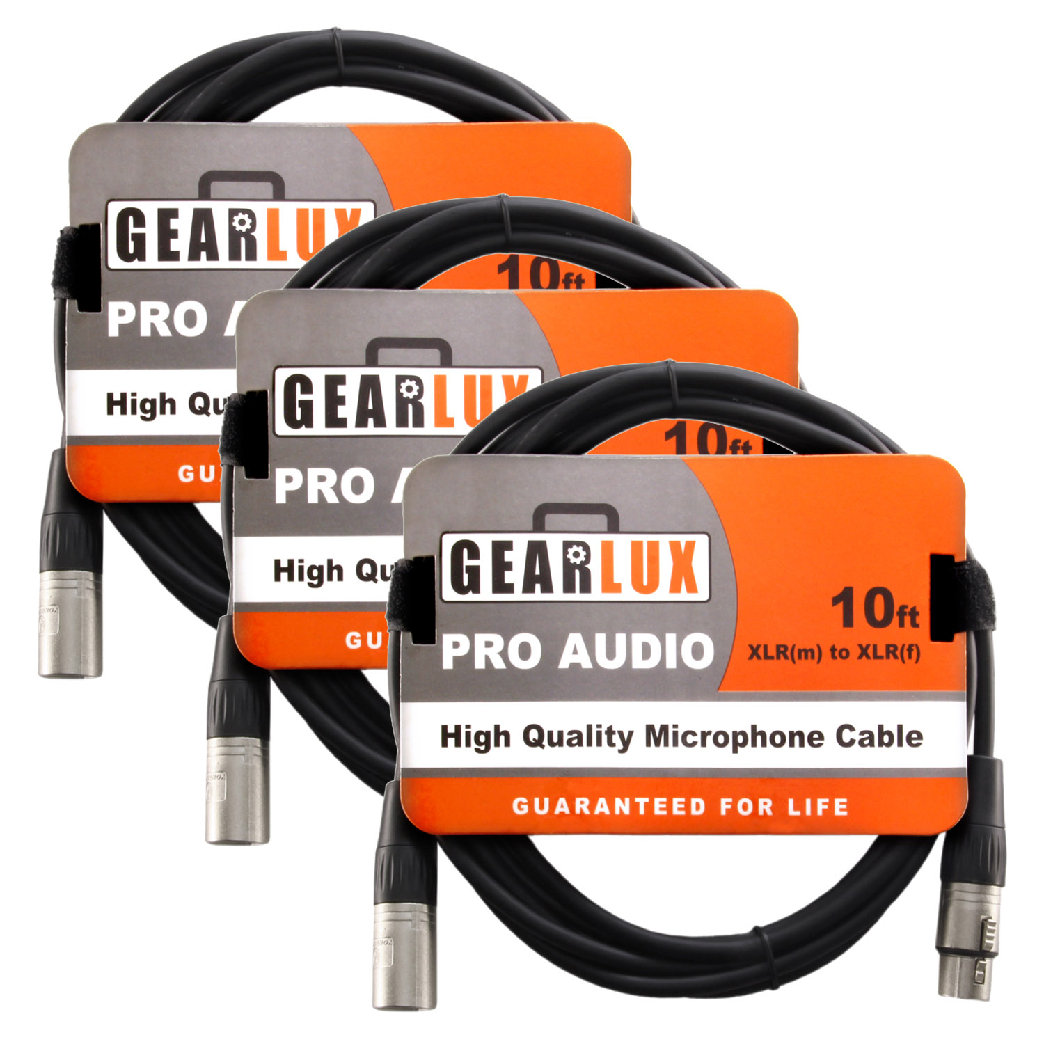 Gearlux XLR Microphone Cable 3 Pack 10 Foot