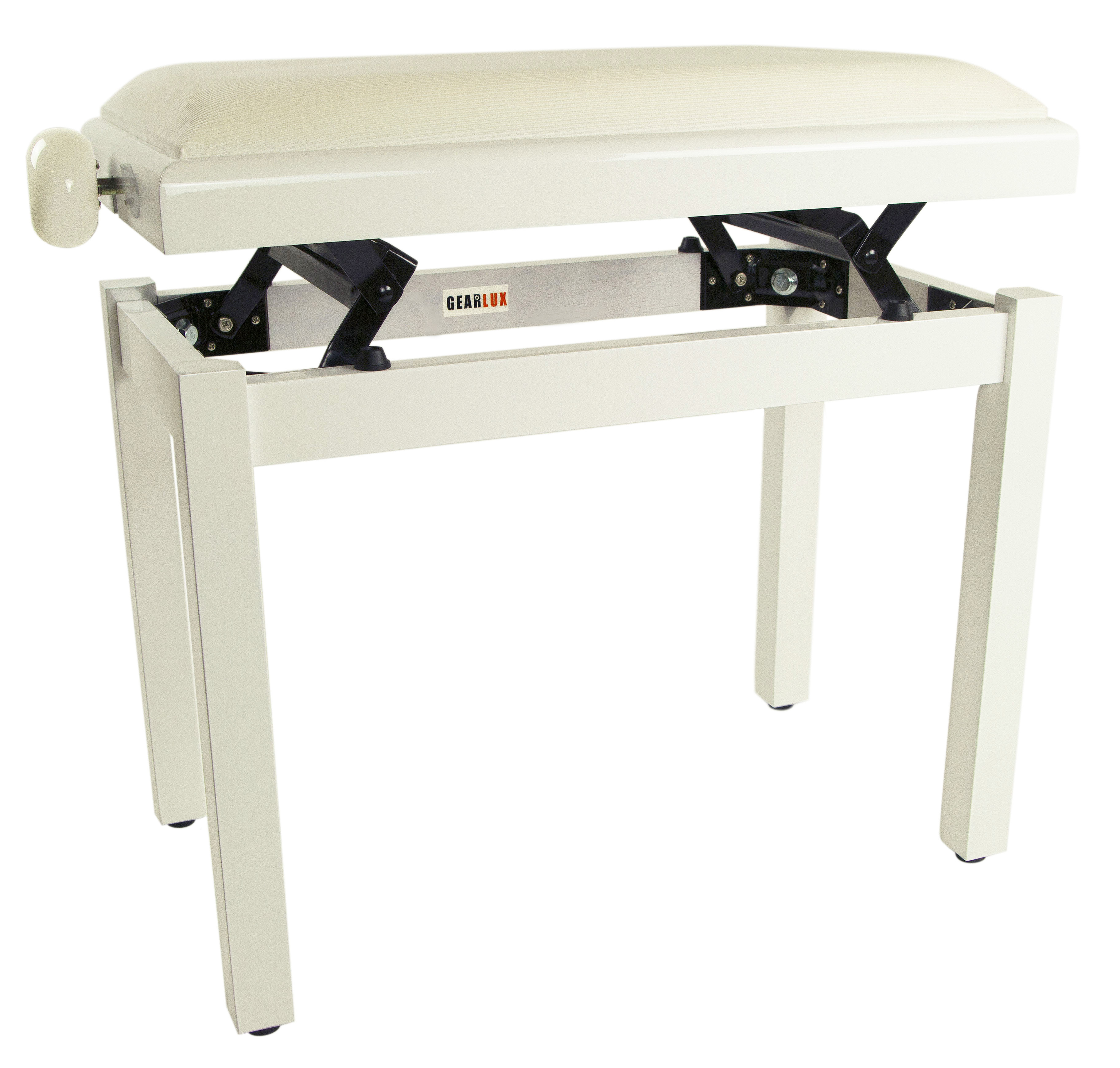 Gearlux Adjustable Piano Bench With Velvet Top White Gloss 660845715035 Ebay
