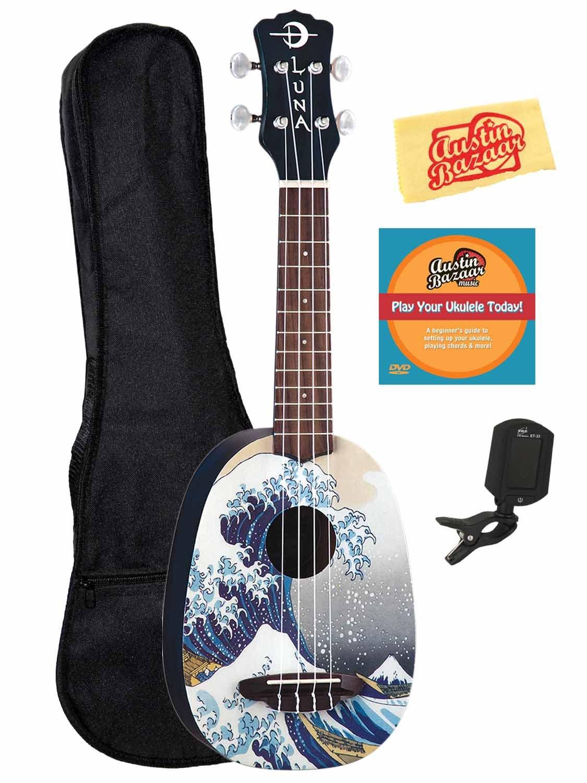 Luna Great Wave Soprano Ukulele w/ Gig Bag