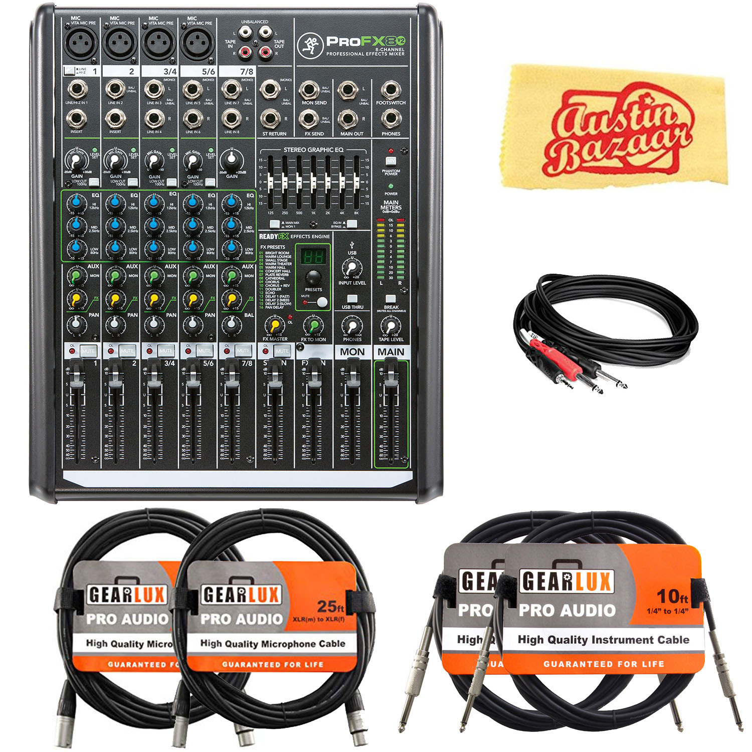 mackie profx8v2 8 channel professional effects mixer w cables ebay. Black Bedroom Furniture Sets. Home Design Ideas