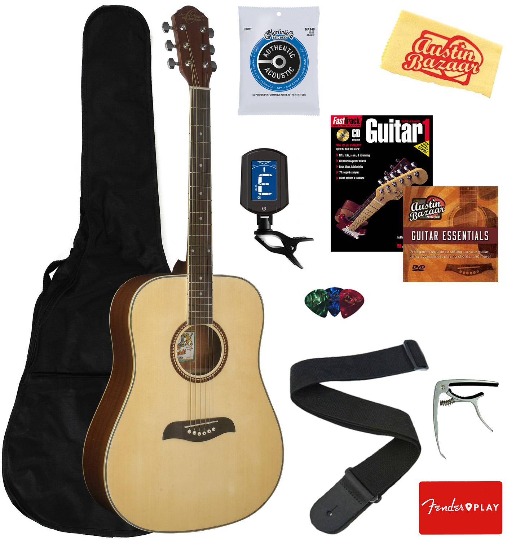 Oscar Schmidt OG2 Dreadnought Acoustic Guitar Natural w// Gig Bag