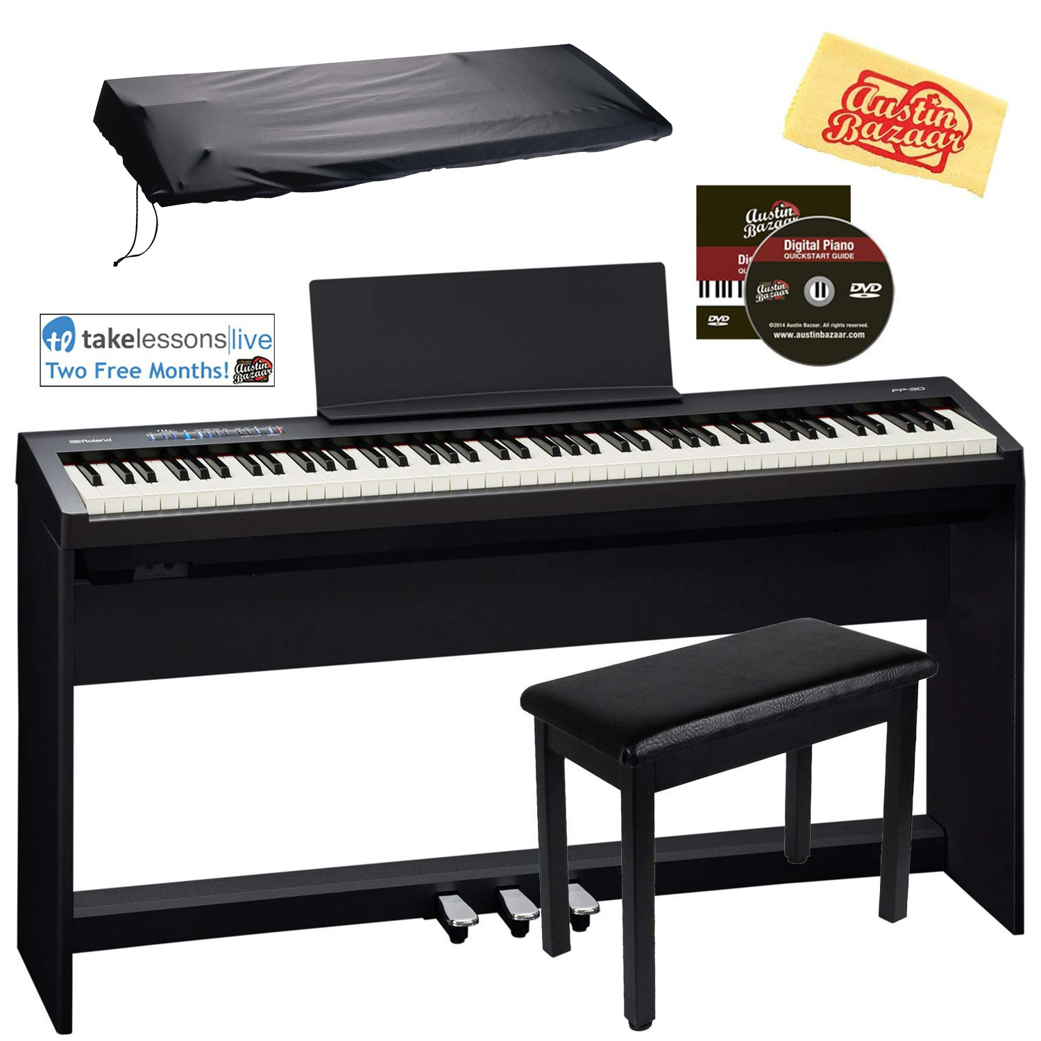 Roland FP-30 Digital Piano with KSC-70 Stand and KPD-70 Peda
