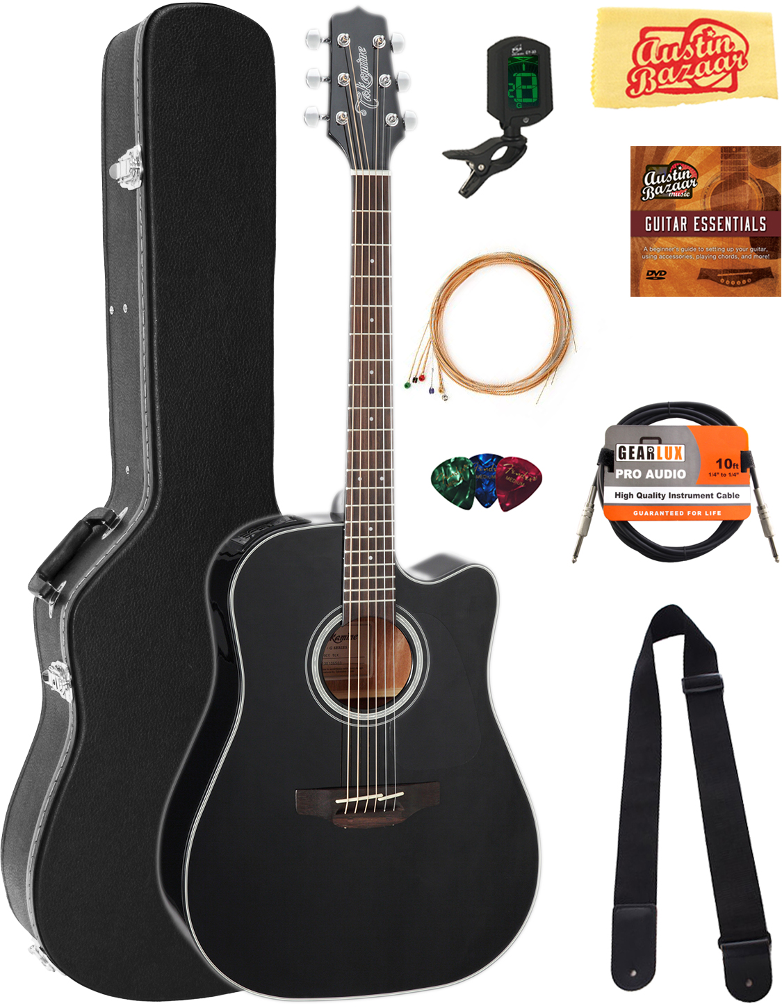Black W/ Hard Case Amiable Takamine Gd30ceblk Dreadnought Acoustic-electric Guitar Guitars & Basses Acoustic Electric Guitars