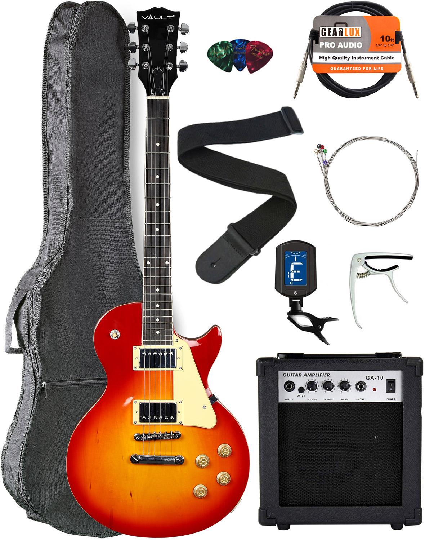 Vault-LP1-Ovangkol-Fretboard-Electric-Guitar-Cherry-Red-Burst-w-Amplifier
