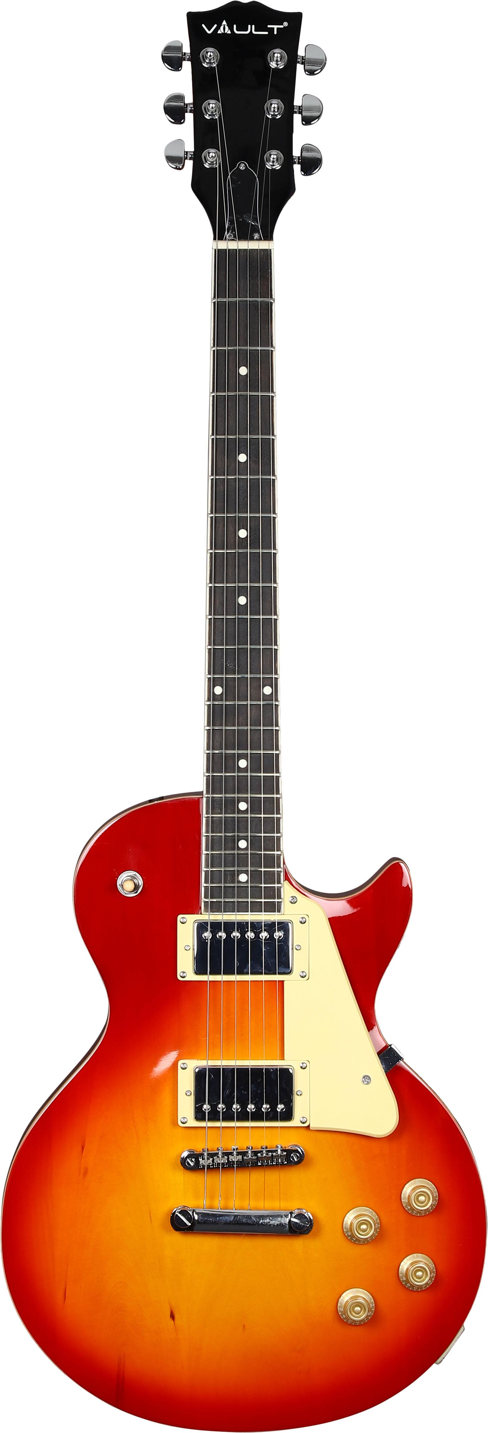 Vault-LP1-Ovangkol-Fretboard-Electric-Guitar-Cherry-Red-Burst-w-Amplifier thumbnail 2