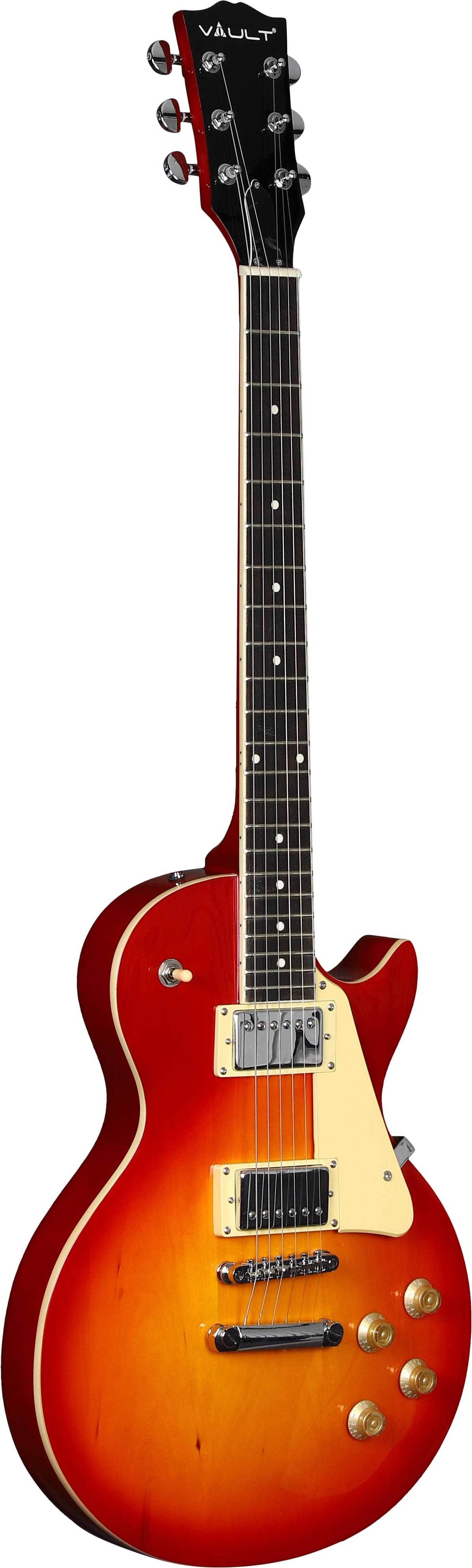 Vault-LP1-Ovangkol-Fretboard-Electric-Guitar-Cherry-Red-Burst-w-Amplifier thumbnail 3