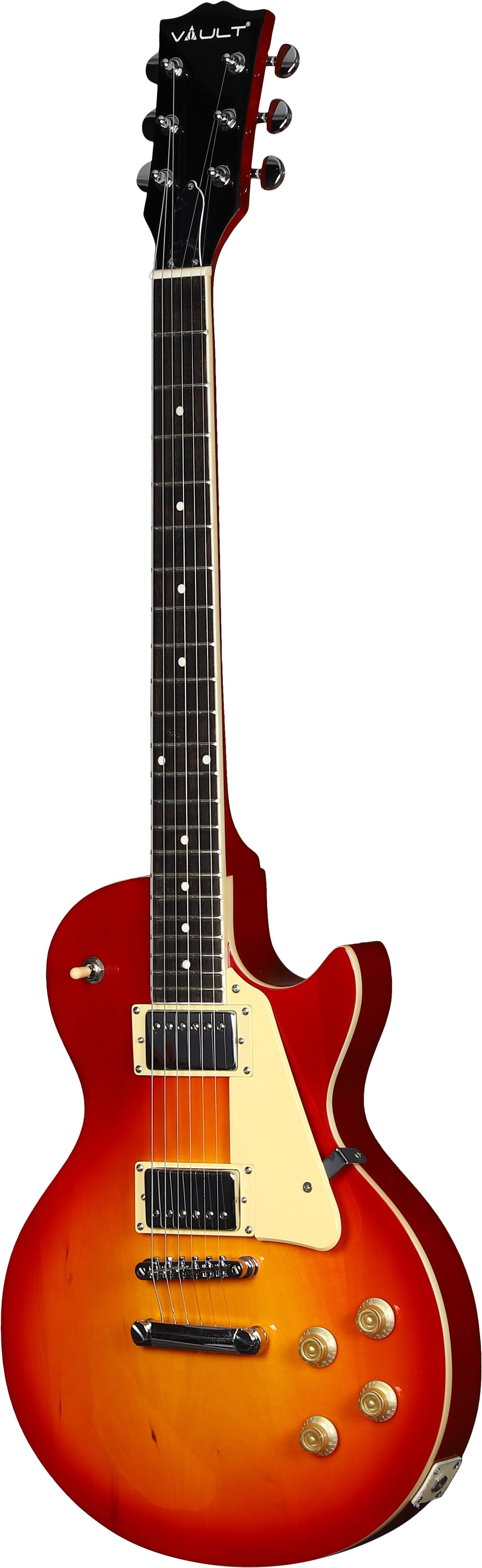 Vault-LP1-Ovangkol-Fretboard-Electric-Guitar-Cherry-Red-Burst-w-Amplifier thumbnail 4