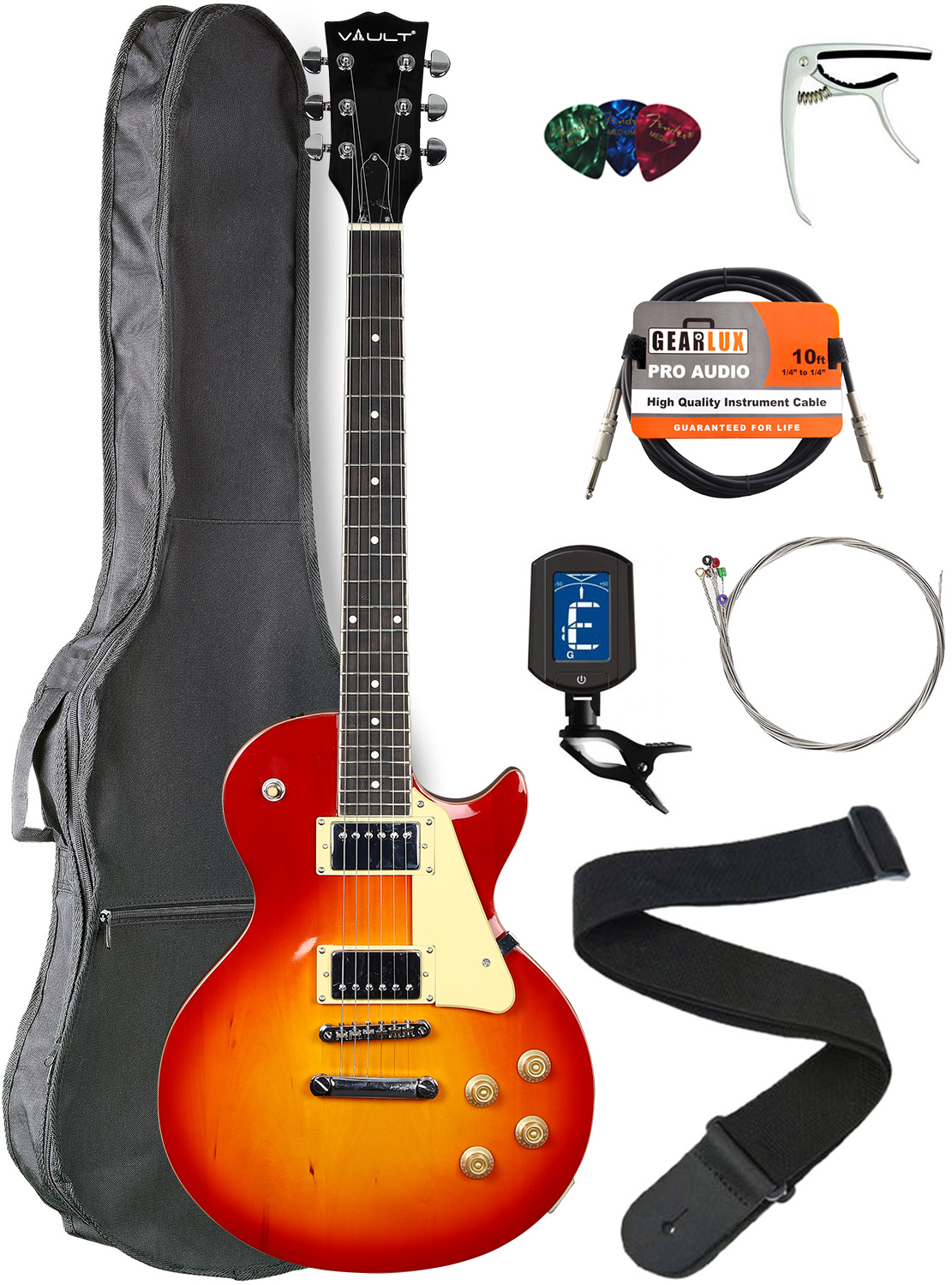 Vault-LP1-Ovangkol-Fretboard-Electric-Guitar-Cherry-Red-Burst-w-Gig-Bag thumbnail 1