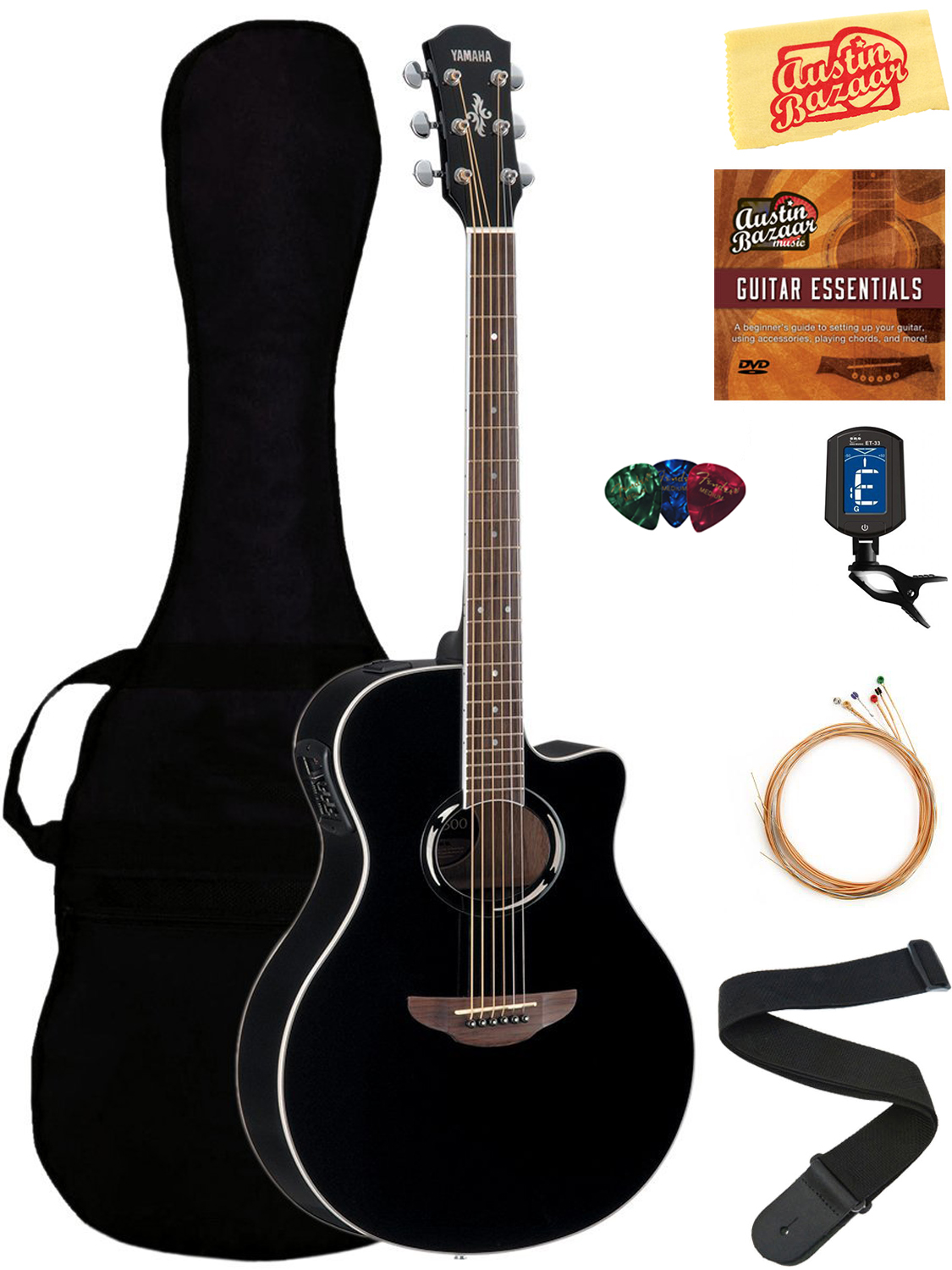 yamaha apx500 thinline cutaway acoustic electric guitar black w gig bag ebay. Black Bedroom Furniture Sets. Home Design Ideas