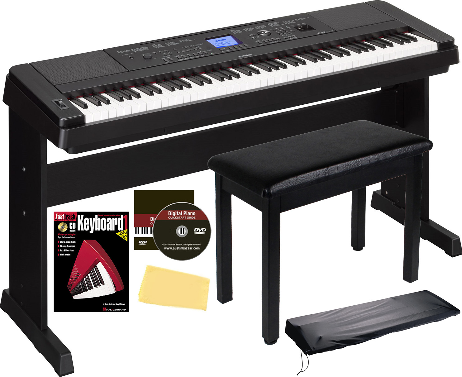 yamaha dgx 660 digital piano black w furniture bench ebay. Black Bedroom Furniture Sets. Home Design Ideas