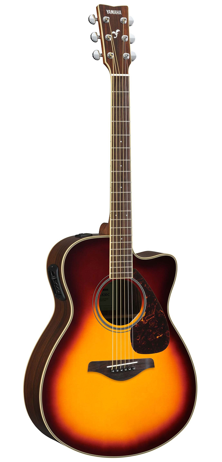 yamaha fsx830c small body acoustic electric guitar w hard case sunburst ebay. Black Bedroom Furniture Sets. Home Design Ideas