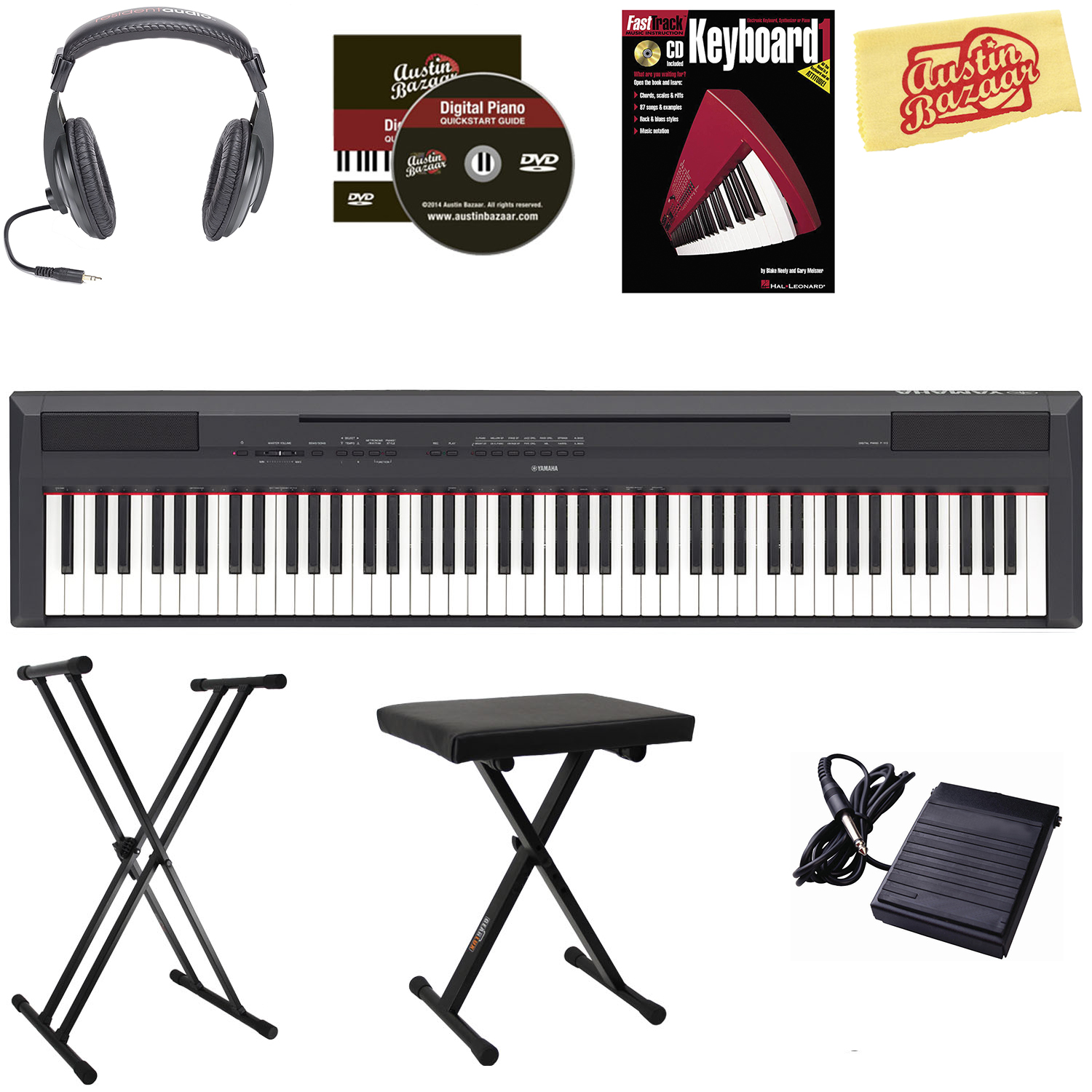 Yamaha p 115 digital piano black w x style stand bench for Ebay yamaha p115