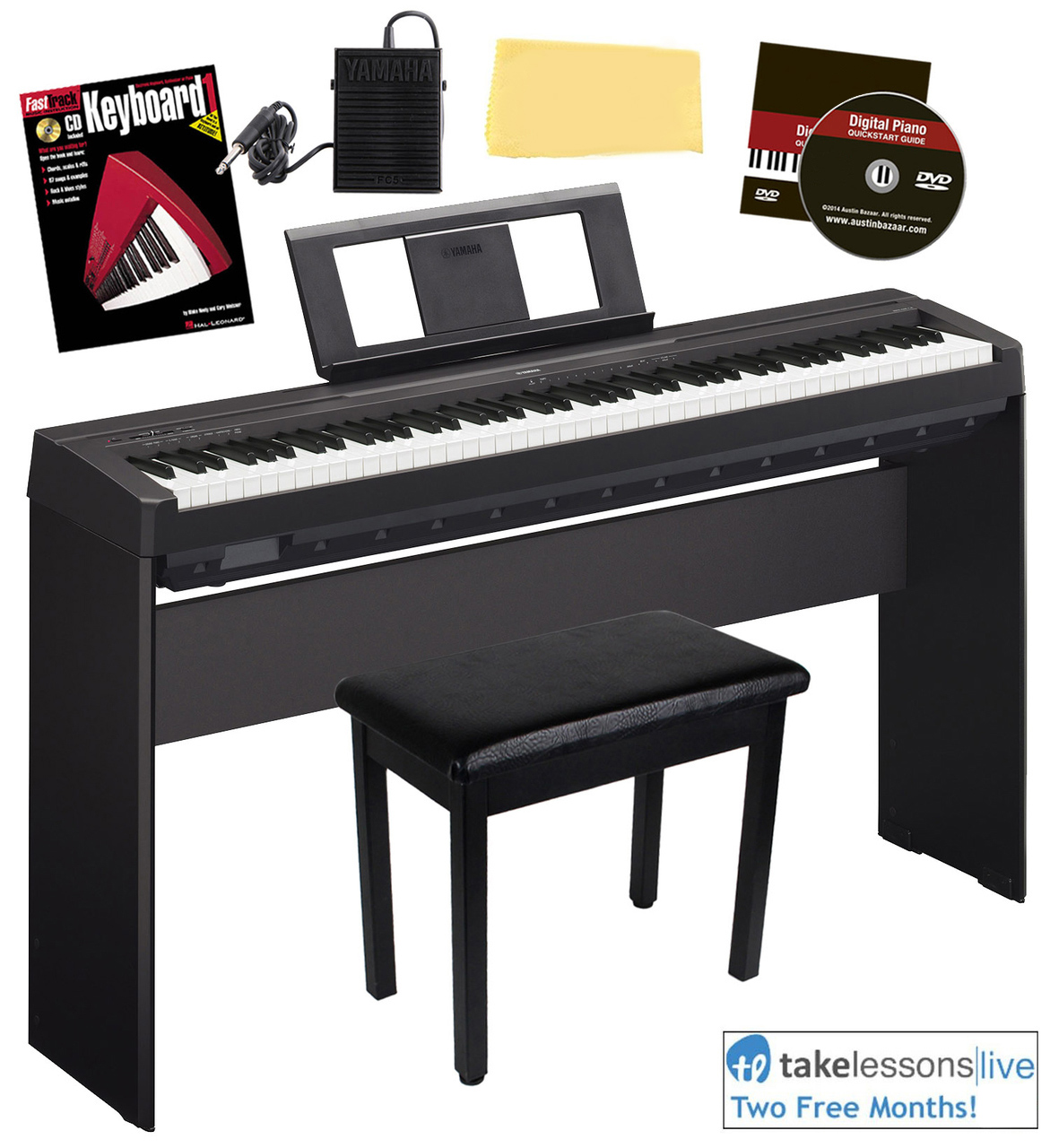 Yamaha p 45 digital piano black w l 85 stand bench ebay for Yamaha p115 music stand