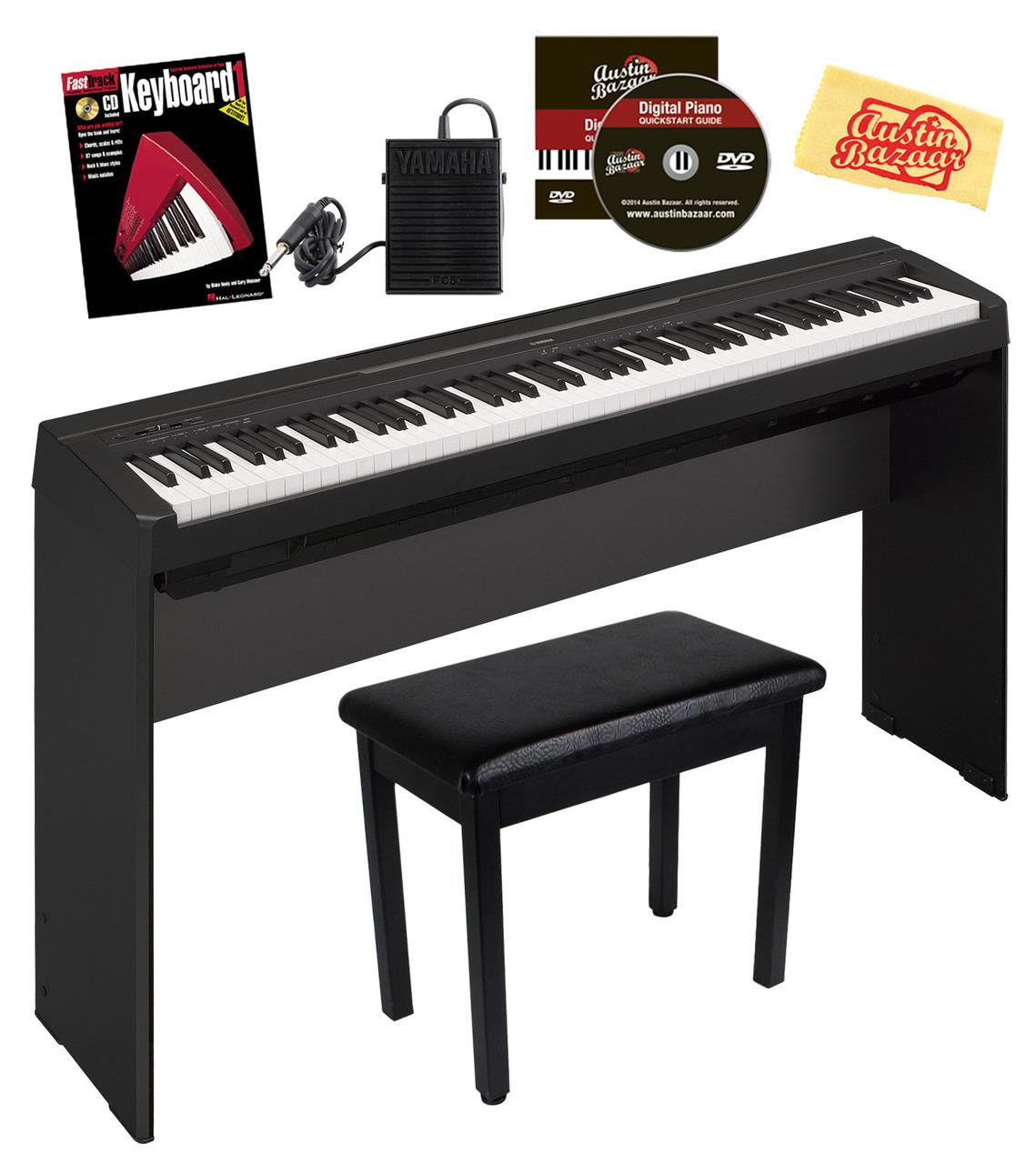 yamaha p 35 88 key digital piano bundle w stand pedal bench book black ebay. Black Bedroom Furniture Sets. Home Design Ideas