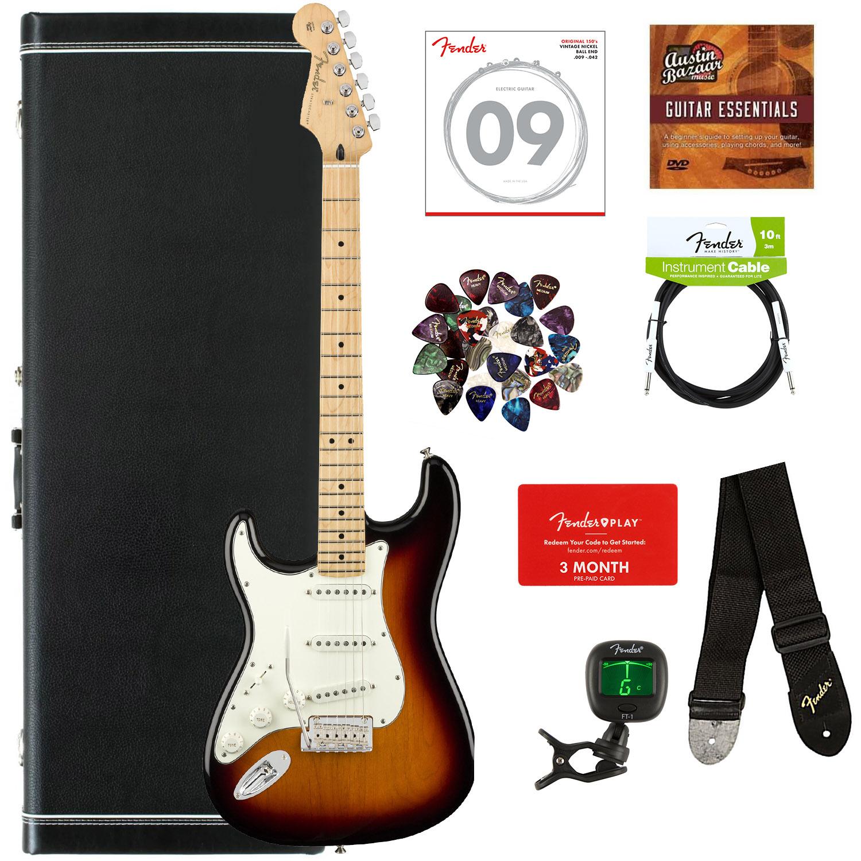 Fender Player Stratocaster, Maple, Left Handed - 3-Farbe Sunburst w  Hard Case