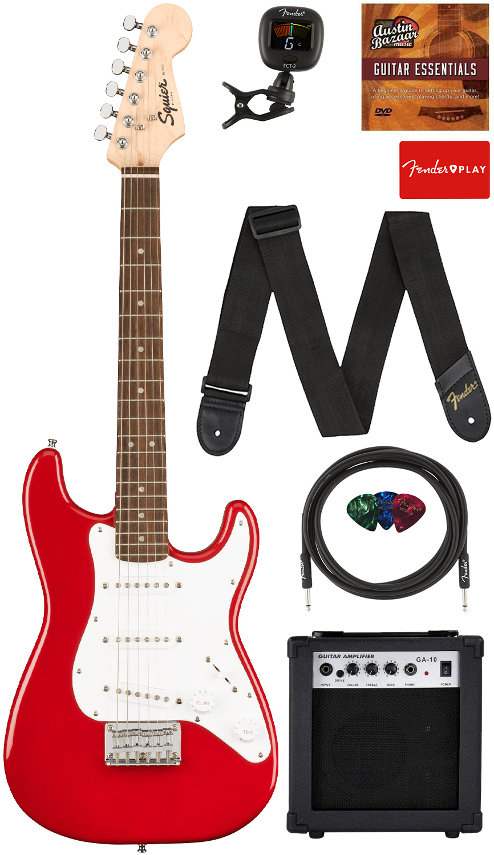 Fender Squier 3/4-Size Mini Stratocaster - Dakota Red w/ Amplifier