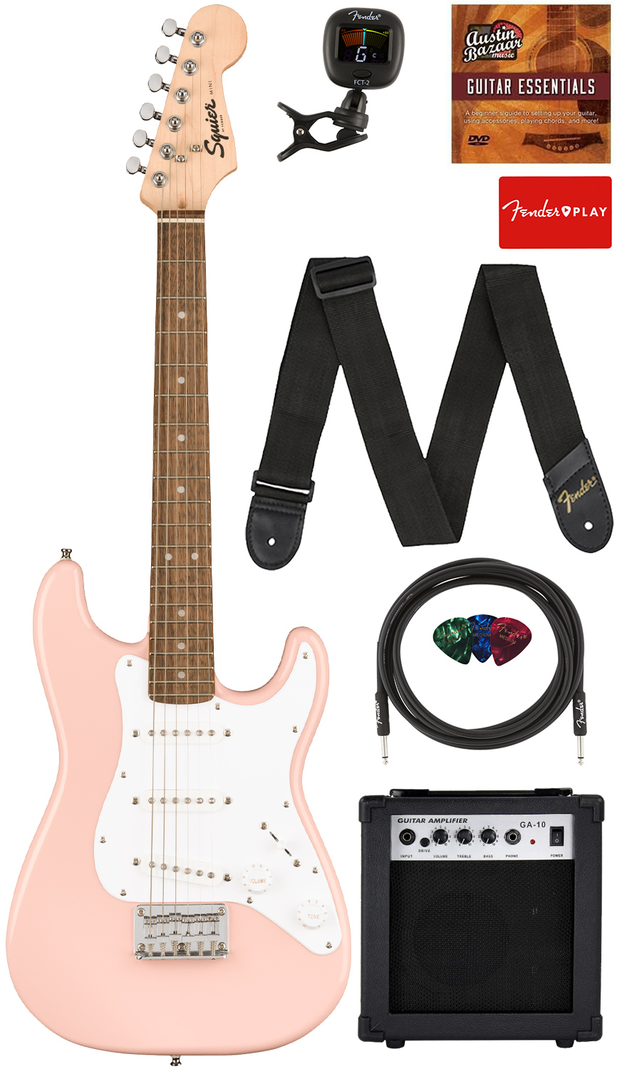 Fender Squier 3/4-Size Mini Stratocaster - Shell Pink w/ Amplifier