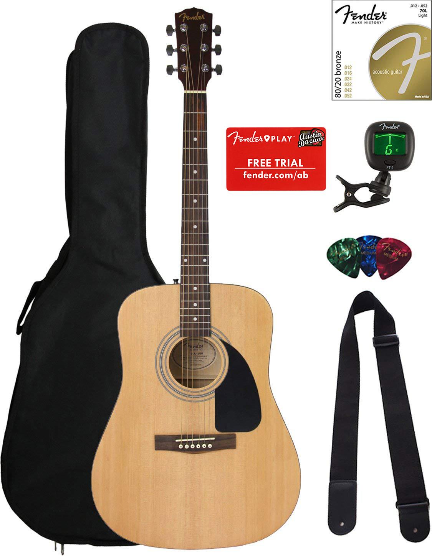 fender acoustic guitar bundle steel string fa 100 dreadnought gig bag tuner ebay. Black Bedroom Furniture Sets. Home Design Ideas