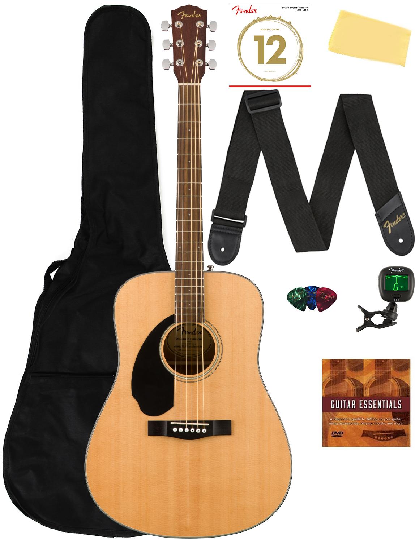 Fender CD-60S Solid Top Acoustic Guitar, Left Handed - Natur