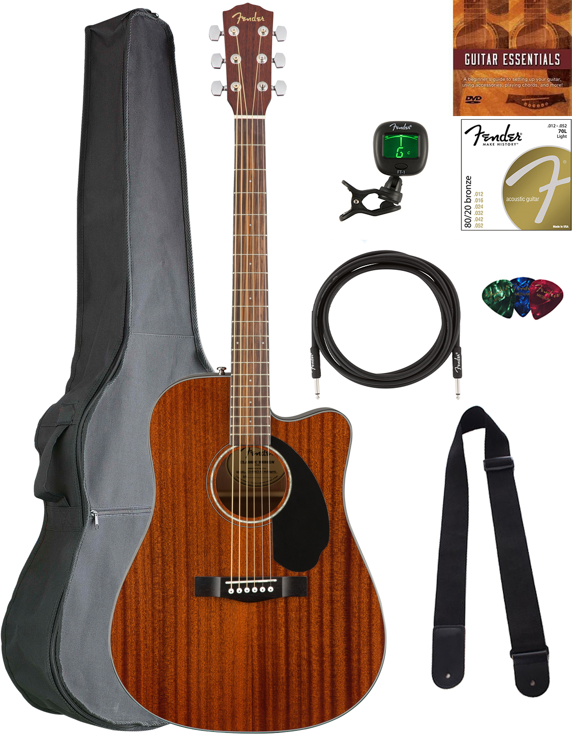 Fender CD-60SCE Dreadnought Acoustic-Electric Guitar - All M