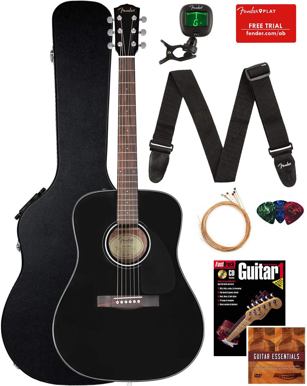 Fender CD-60 Dreadnought Acoustic Guitar - Black w/ Hard Cas